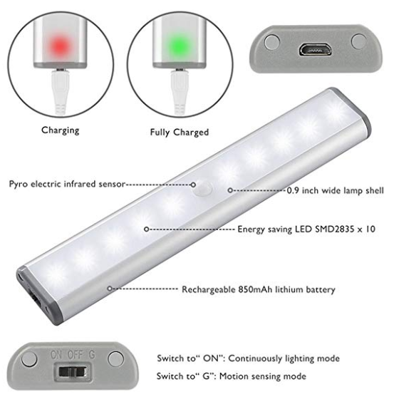 usb rechargeable under cabinet lighting